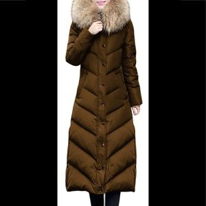 Brown Green Long Duck Down Fur Collar Coat, Sz. S